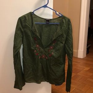 Abercrombie & Fitch green peasant boho top L